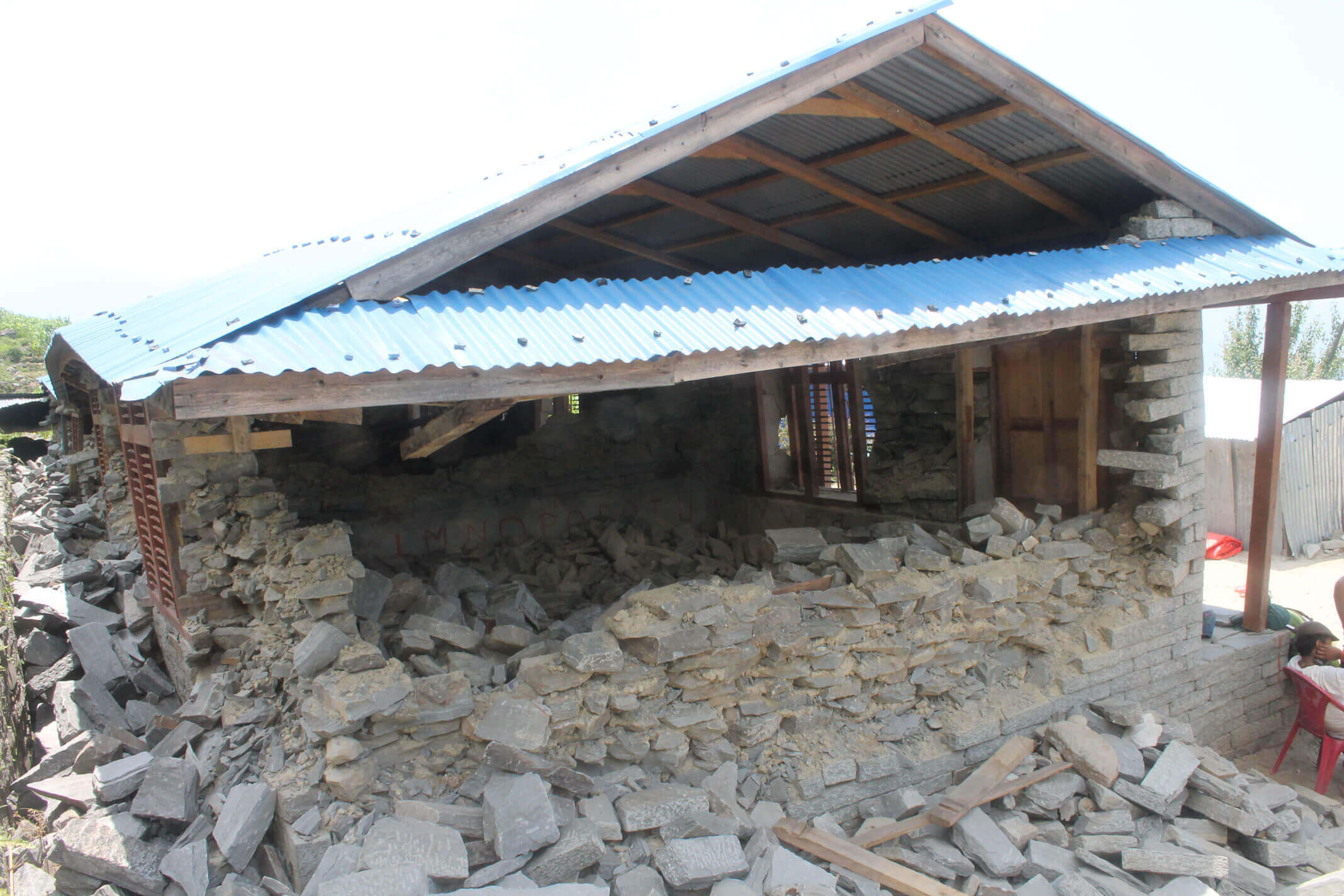 School in Ladap damaged by earthquake in 2015