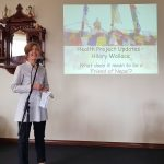 Hilary Wallace speaking at the fundraising Sunday Lunch